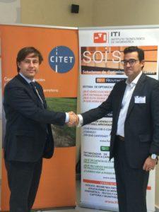 Firma del convenio de colaboración. Izq. Director Gerente de CITET, Ramón García Dcha. Director de Desarrollo de negocio de ITI, Ignacio Galve.